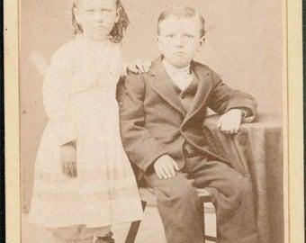 vintage photo Little Boy and Girl cdv