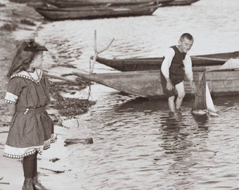 Summer Pastimes Sailboats at Water's Edge Vintage Photo Print