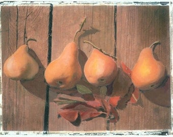 Pears on the Wooden Deck Painted Transfer photo print