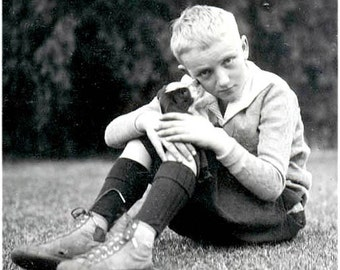 Little Boy Tony Gets a Kiss from His New Puppy Photo Greeting Card