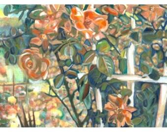 Rose Bush Painted Pastel Photograph