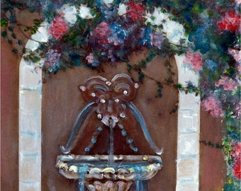 Floral Sacred Water Fountain Painted Photography Print