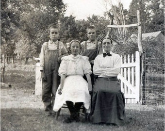 Farm Family Overalls Portrait in Yard The Bennetts Vintage Photo