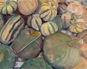 Fine ARt Photograph Print Farmers Market Harvest Squash Table