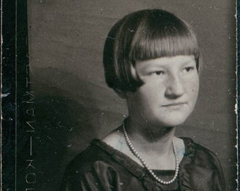 Teen School Girl Bobbed Haircut Kodak Gem original vintage photo