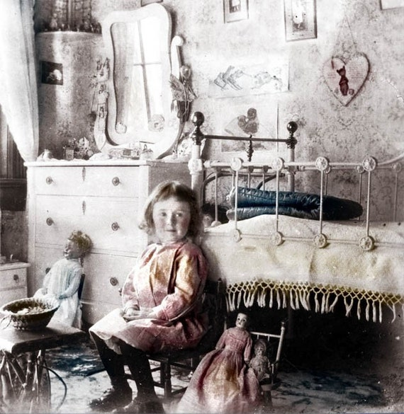 Vintage Photo Little Girl Victorian Bedroom Photo Print Folk