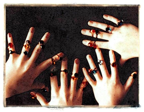 Ring Fingers Surreal Transfer  Photo Card