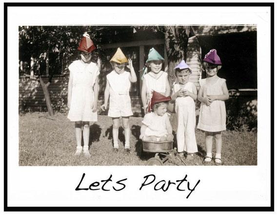 Lets Party Fine ARt Color Photo Greeting Card Vintage Image