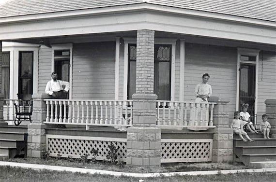 reserved for Joanne   vintage photo 1912 Family & New House Nebraska Ma Pa Kids RPPC