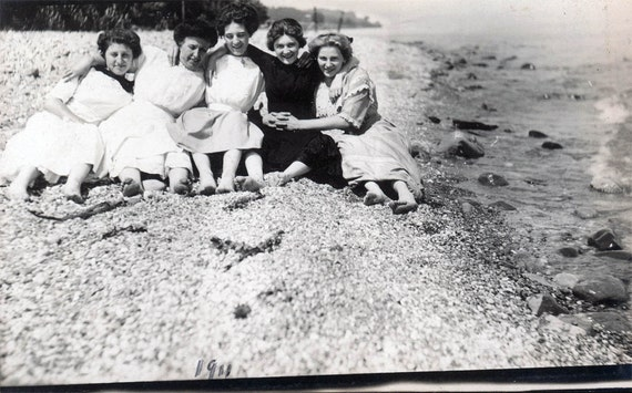 vintage photo 5 Women in Sand at BEach photo postcard