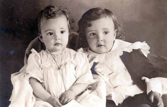 vintage photo Gorgeous Baby Girl and Brother Ruffle Shirt cabinet photograph