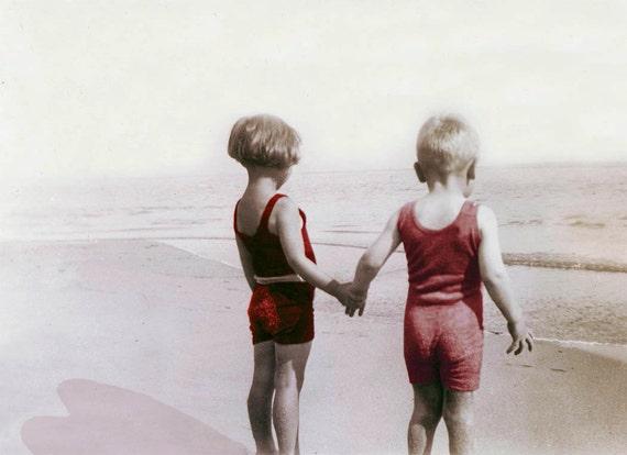 Sweetheart Children at Beach Vintage Photo Card