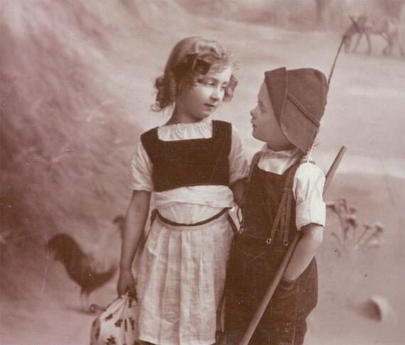vintage photo Valentine postcard Children in Costume 1914