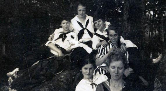 vintage photo Teen Gals Sailor Shirts Girl Pile up in Woods