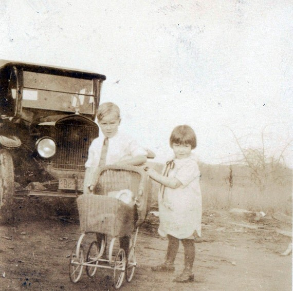 vintage photo Kids by Car w Doll Buggy