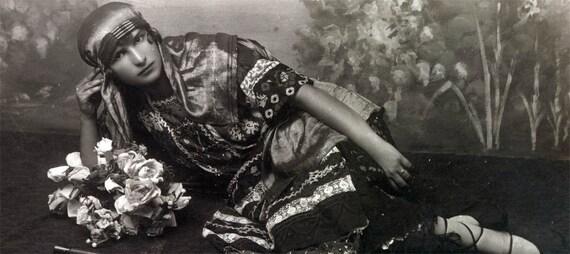 vintage photo postcard French Gypsy Arab Exotic Beauty dress