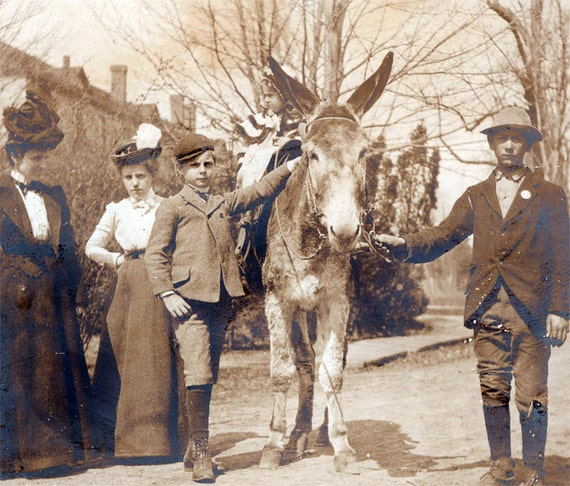 vintage photo 1900 Girl and Well to do Brother w Donkey Poor BOy assistant