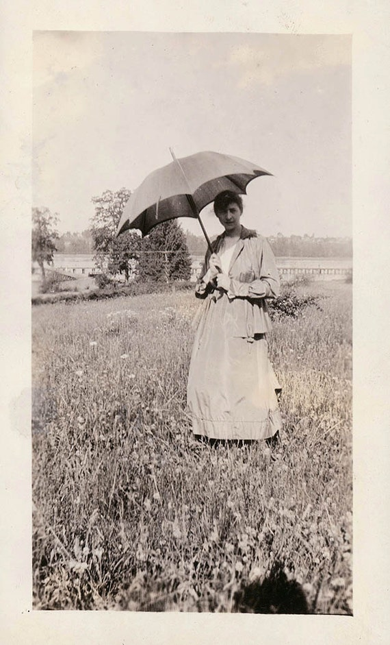 vintage photo 1910 Woman w umbrella in a field of flowers