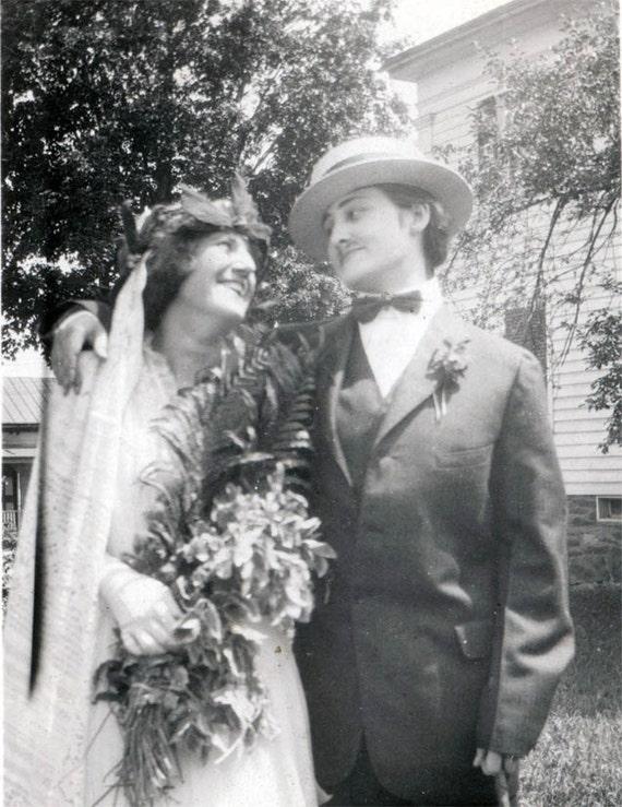 Vintage Photo Lesbian Wedding Cross Dress Young Women 1918-5444