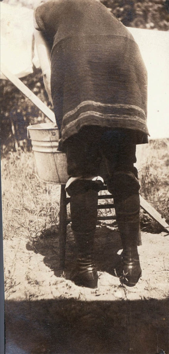 vintage photo Woman Wool Swimsuit from Back unusual Doing Washing in Bucket 1911