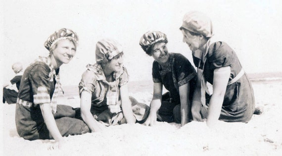 vintage photo Bathing Beauties Pose at Beach in Polka DOt Caps and Swimsuits