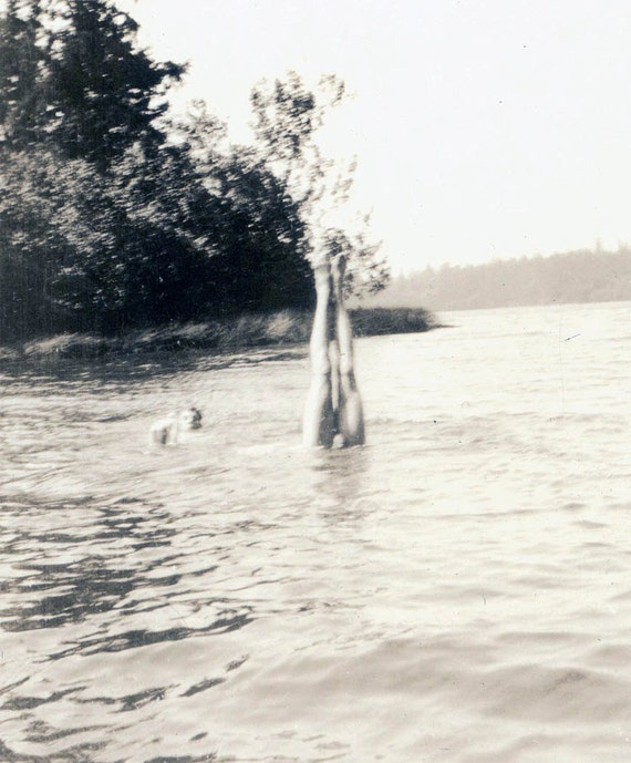 vintage photo Man Dives in WAter Legs are all you SEe