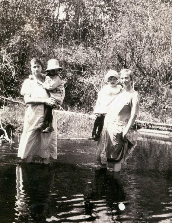 vintage photo Women Children Wade in Creek COoling Off summer day