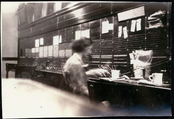 vintage photo eerie ghost Woman Telephone Operator Switchboard Rare View  exposure