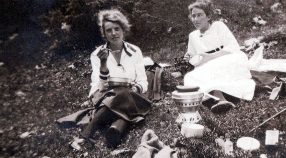 vintage photo Women Camping on Mountainside Binoculars too