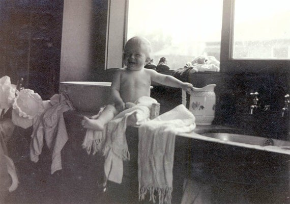 vintage photo BAby Margaret Takes a Bath Two Photos