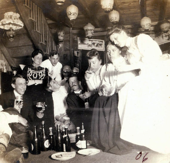 vintage photo MEn and Women Having a Party in the Cabin 1906