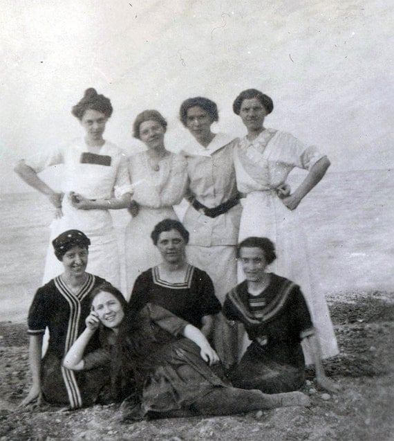 vintage photo Women at Beach Some Swimsuits Some Dresses 1912