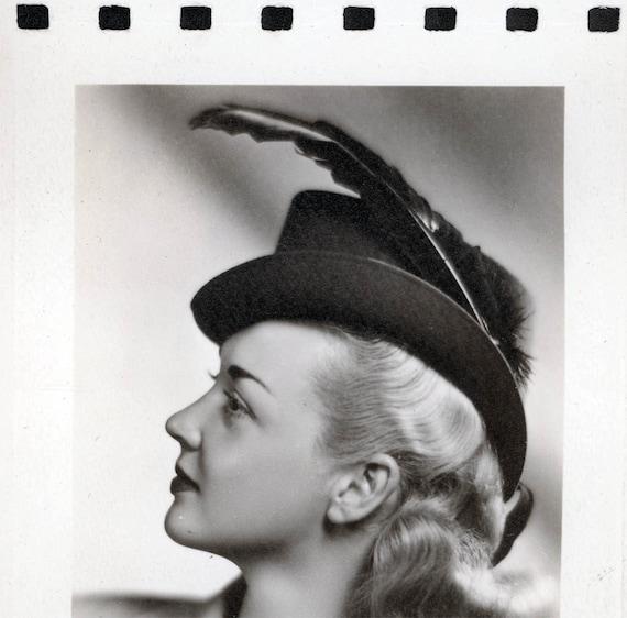 vintage photo Rare Kodak Photo Paper Sample Woman w Feather Hat