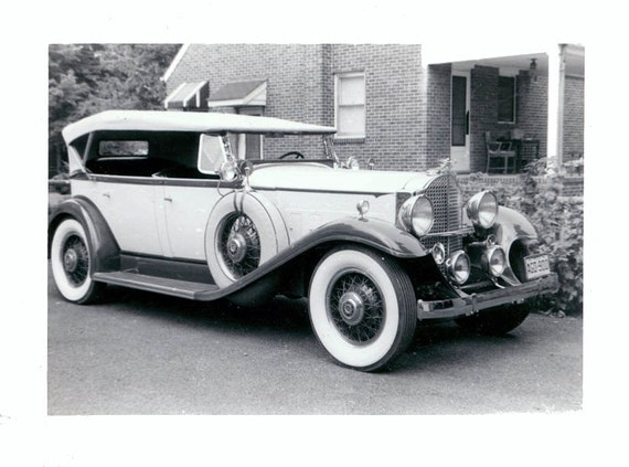 vintage photo White 1937 Packard automobile in Driveway