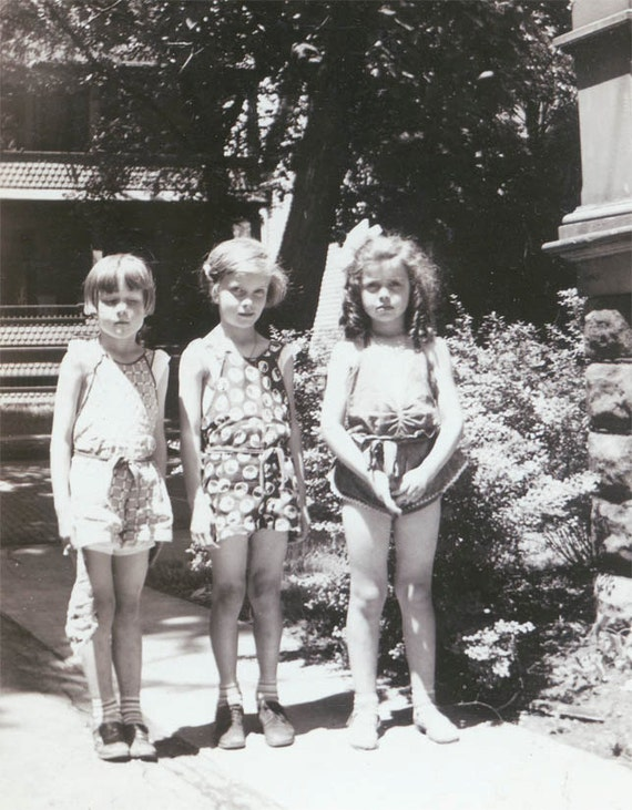 vintage photo 3 Adorable Little Girls in Sunsuit Summer Sweet