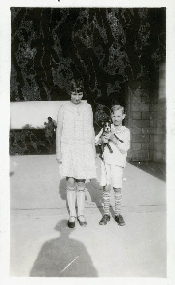 vintage photo Charlotteand boy with Boston Terrier Dog