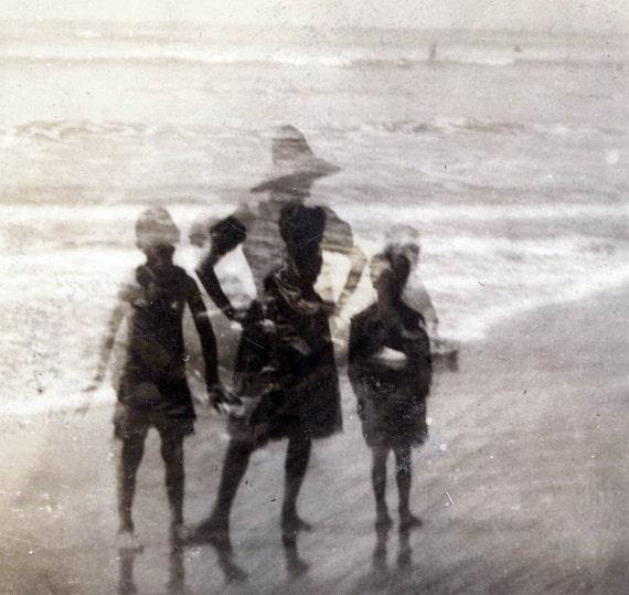 vintage photo 1909 Very Unusual Double Exposure Mom and kids at Beach silhouette