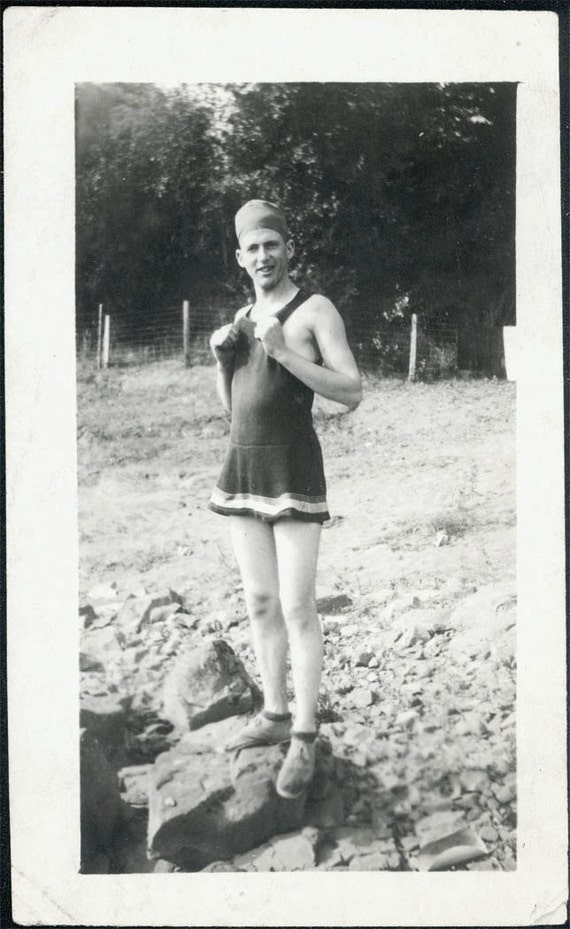 vintage photo 1918 Man wears Womens swimsuit and bathing cap