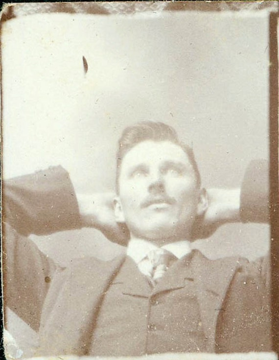 vintage photo Man Looking upwards gem miniature unusual