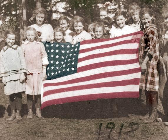 vintage photo American Patriotic Children Holding American Flag photo print