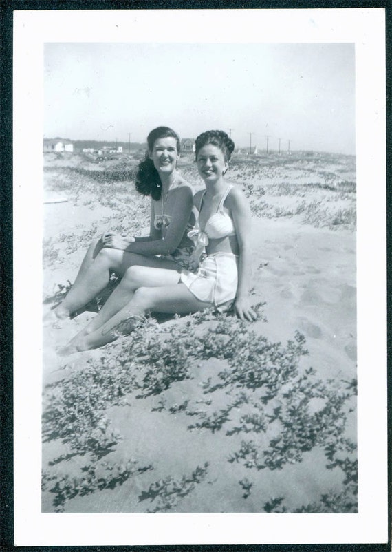 vintage photo Joan and Shirley in Swimsuits at the Beach bathing suits 1940s