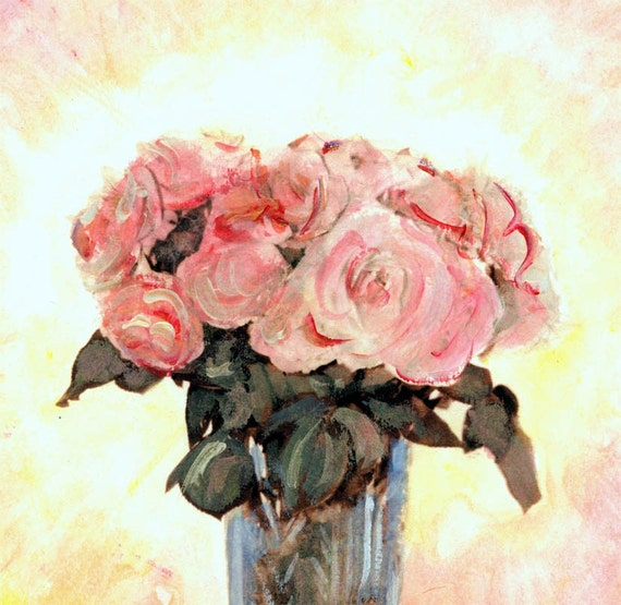 Pink and Golden Rose Bouquet Greeting Card