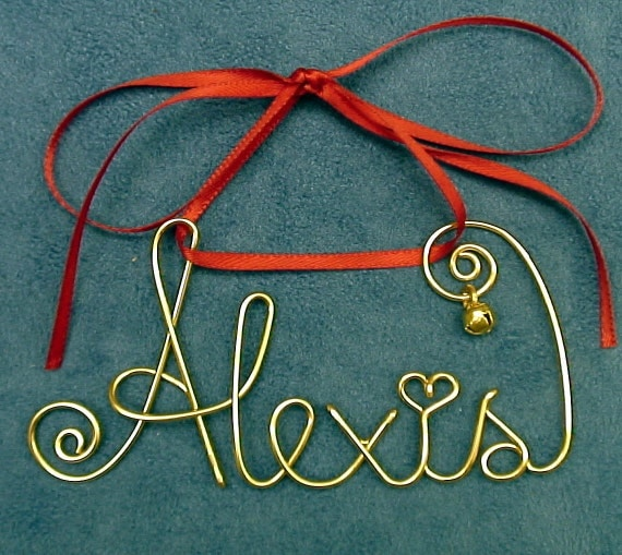 Personalized Gold/Silver Wire Name Christmas/Holiday Ornament/Gift~Any Name~Festive Keepsake Gift Bag~The Original~Custom made just for you
