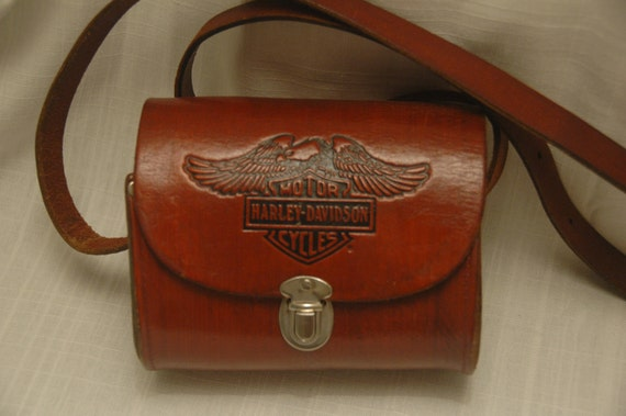 VINTAGE 70's - 80's Licensed HARLEY DAVIDSON cross body bag or purse - Biker Chic - Coachella