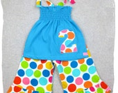 Custom Children Boutique Unique Handmade Cute Little Newborn Infant Toddler Baby Girl Clothes Clothing Aqua Blue Tunic Smocked Dress Top Matching Flannel Rainbow Dot Ruffle Pant Bottom Outfit Set 3 6 9 12 18 24 month size 2T 2 3T 3 4T 4 5T 5 6 7 8