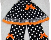 Custom Children Boutique Unique Handmade Cute Little Newborn Infant Toddler Baby Girl Clothes Clothing Halloween Black N' Orange Twirl Tunic Dress Top Matching Polka Dot Ruffle Pant Bottom Outfit Set 3 6 9 12 18 24 month size 2T 2 3T 3 4T 4 5T 5 6 7 8