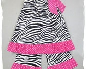 Custom Boutique Clothing Zebra Pink Polka Dot Pillowcase Dress Top Ruffle Pant Outfit 3 6 9 12 18 24 month size 2T 2 3T 3 4T 4 5T 5 6 7 8