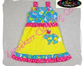 Easter Girl Dress Custom Boutique Clothing Bunny Egg Hunt Aline Ruffle Dress 3 6 9 12 18 24 month size 2T 2 3T 3 4T 4 5T 5 6 7 8