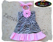 Custom Boutique Girl Infant Toddler Baby Halter Zebra Dress Pink Ruffles Outfit 3 6 9 12 18 24 month Size 2T 3T 4T 5 6 7 8 Birthday Dress