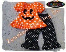 Custom Boutique Clothing Girl Halloween Toddler Baby Pumpkin Face Jackolantern Pant Outfit Set 3 6 9 12 18 24 month size 2T 3T 4T 5T 6 7 8